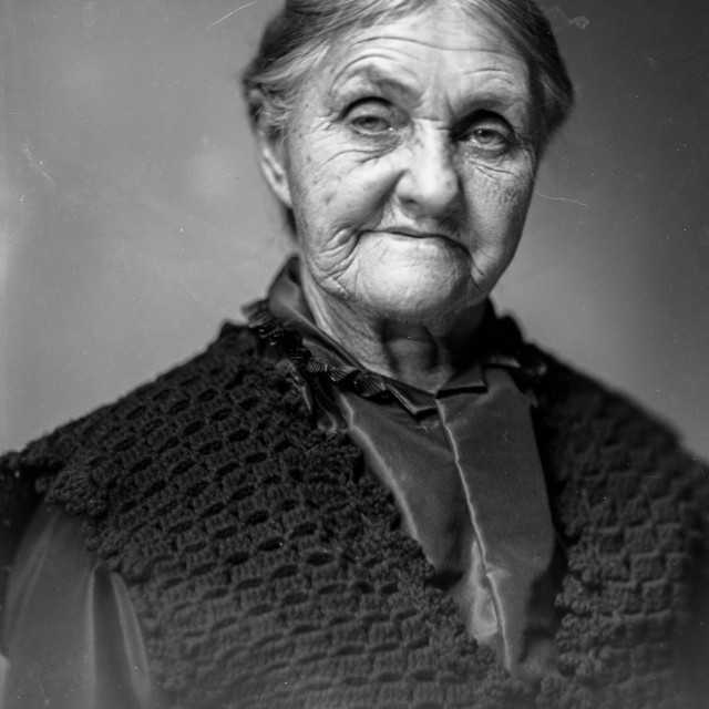 """VINTAGE PORTRAIT OF OLDER WOMAN"" stock image"