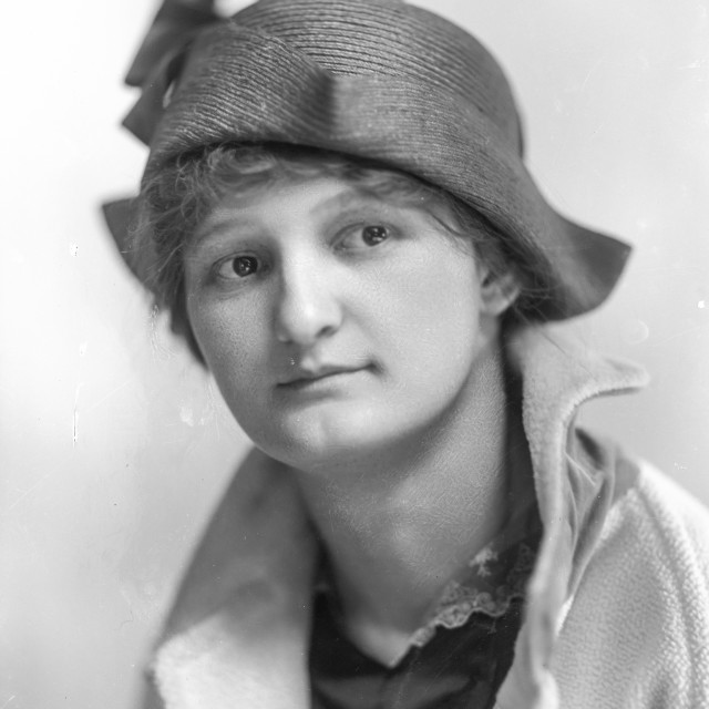 """""""VINTAGE PORTRAIT OF WOMAN IN ELEGANT COAT AND HAT"""" stock image"""