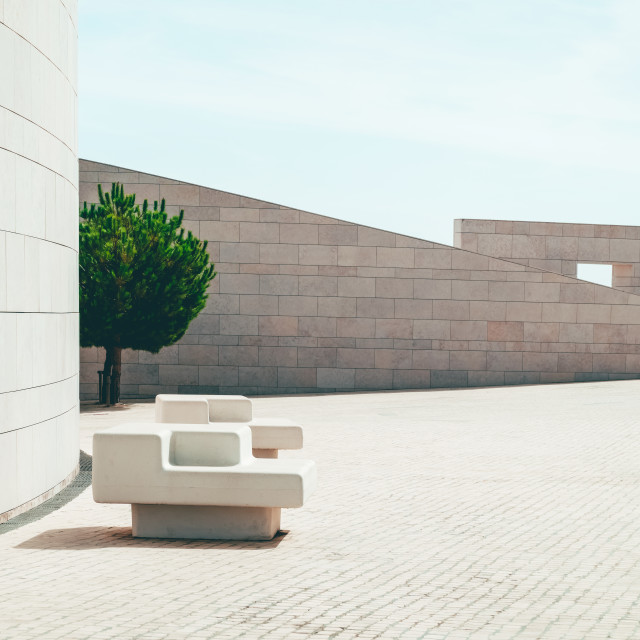 """""""Modern Minimal Architecture Of Wall Stone Chair To Be Used As Bench"""" stock image"""