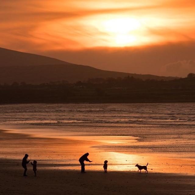 """sunset walks"" stock image"