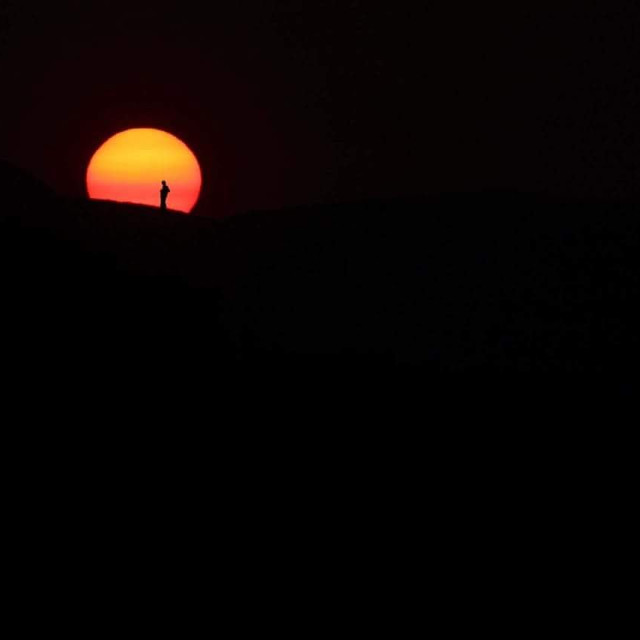 """""""silhoutte at sunset"""" stock image"""
