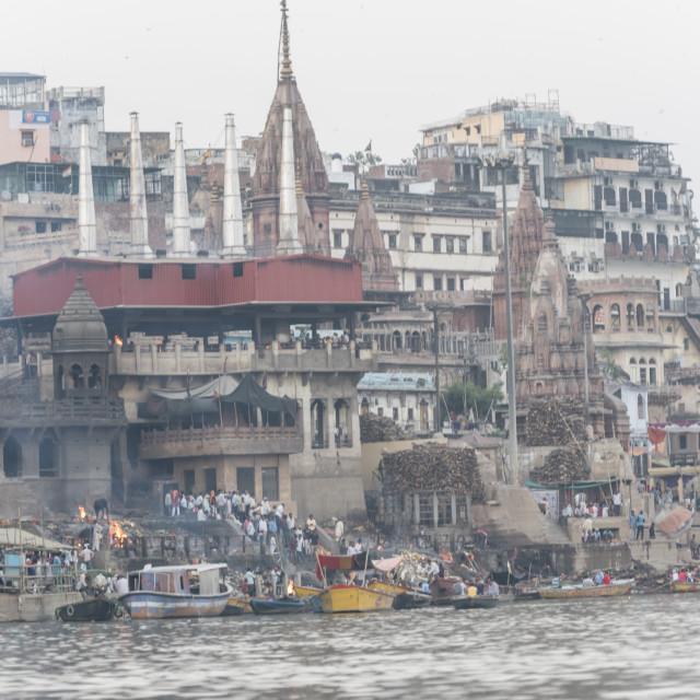 """""""The Marnikarnika gath ( Burning gath ) in Varanasi , India"""" stock image"""