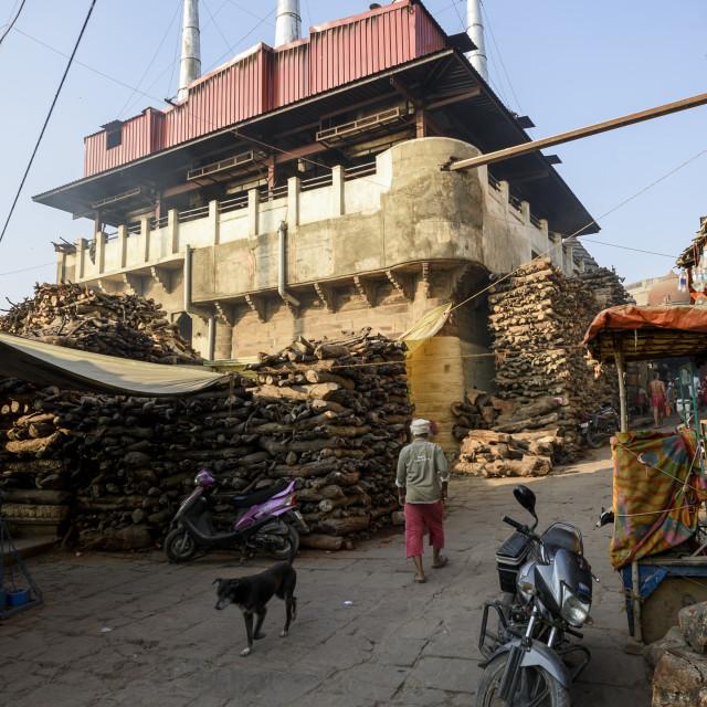 """""""The Crematorium at Varanasi , India"""" stock image"""