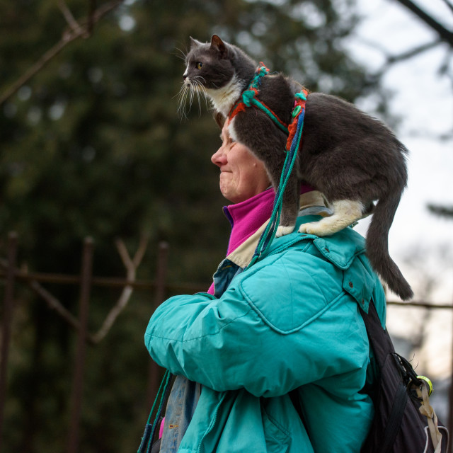 """""""Woman walking on the street with her cat on shoulder."""" stock image"""