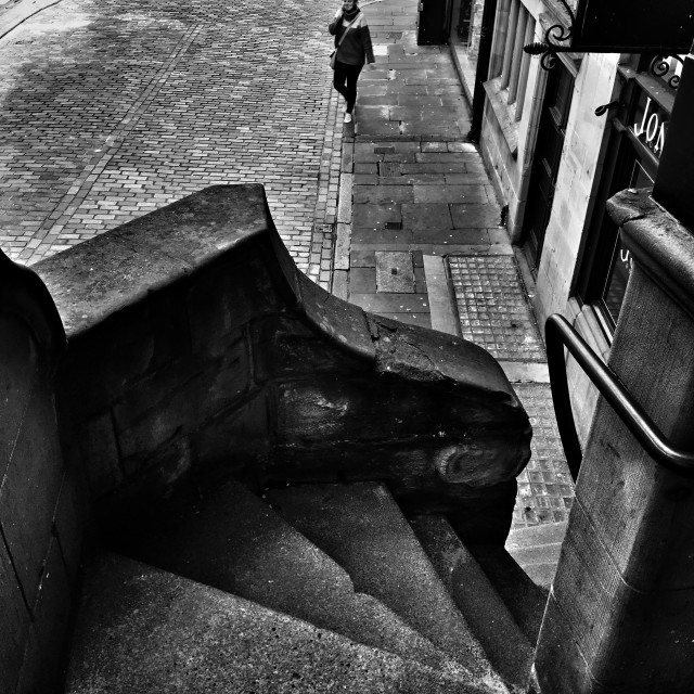 """""""Stairs down to Watergate Street, Chester"""" stock image"""