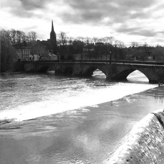 """""""The Old Dee Bridge, Chester."""" stock image"""