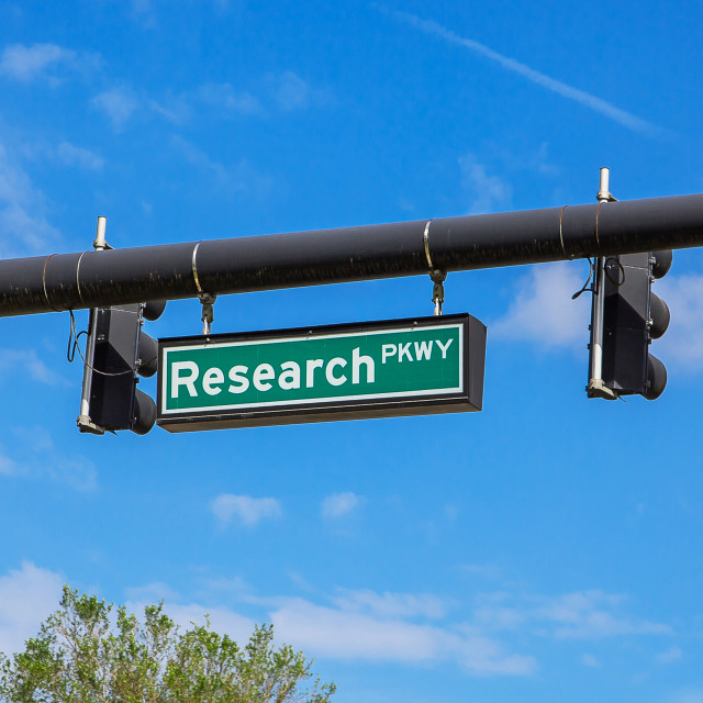 """""""Real Research sign on the street. Street name in Florida. Research"""" stock image"""