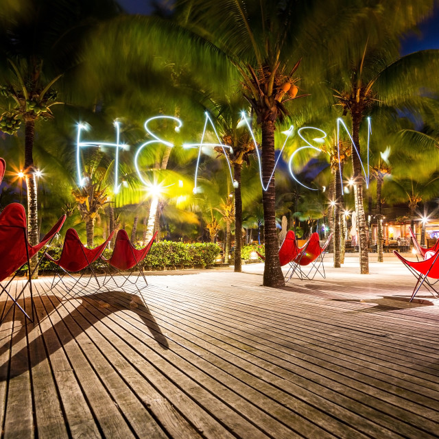 """Heaven word - Pictured by light letters on Mauritius island at night with a..."" stock image"
