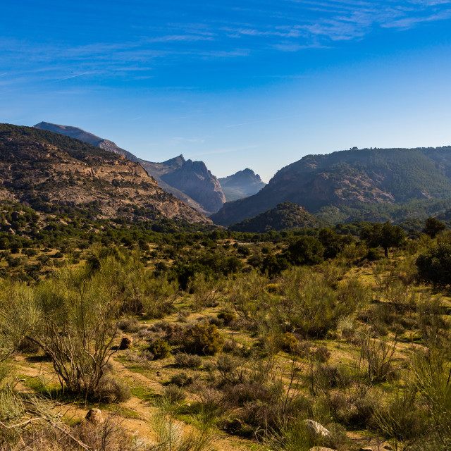"""Gorgeous hills view on the valley in Spain near Caminito Del Rey paths"" stock image"