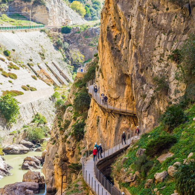 """Beautiful view of Caminito Del Rey, the path along steep cliffs in Spain"" stock image"