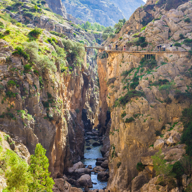 """Beautiful view of the Caminito Del Rey mountains and path along steep cliffs..."" stock image"