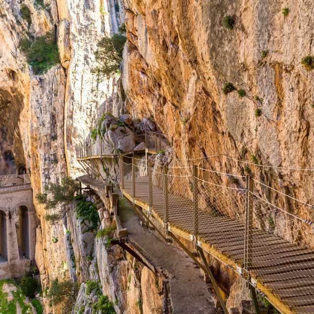 """Beautiful view of the Caminito Del Rey mountains and path along steep cliffs,..."" stock image"