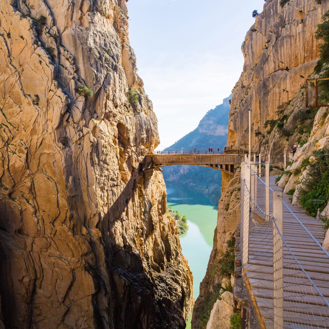 """Road to the old beautiful and a very narrow bridge between two steep..."" stock image"