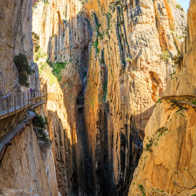 """Beautiful panorama of the mountain valley with cliffs in Caminito Del Rey"" stock image"