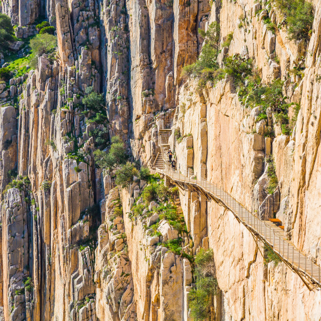 """Beautiful view of the Caminito Del Rey mountain path along steep cliffs and..."" stock image"