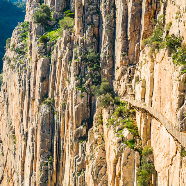 """Beautiful view of the Caminito Del Rey mountain path along steep cliffs"" stock image"