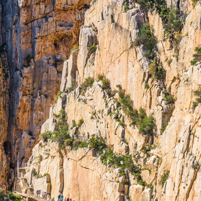 """Beautiful view of the Caminito Del Rey mountain path with small people..."" stock image"
