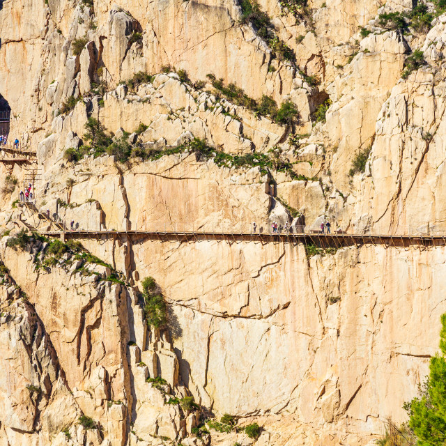 """Beautiful view of the Caminito Del Rey path along the mighty cliffs"" stock image"