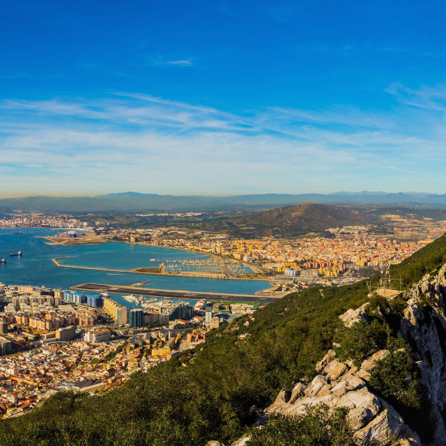"""Amazing panoramic view on the rock of Gibraltar and the city around it"" stock image"