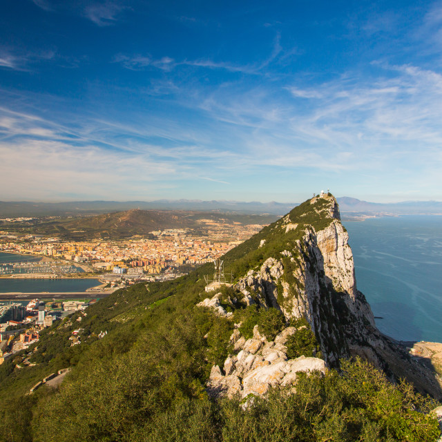 """Amazing view on the top of the rock of Gibraltar and the city around it."" stock image"