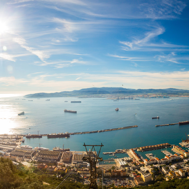 """Beautiful ocean panorama view on the rock of Gibraltar and the city around it..."" stock image"
