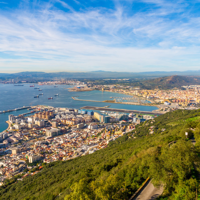 """Amazing view from the top of the rock of Gibraltar on the city around it,..."" stock image"