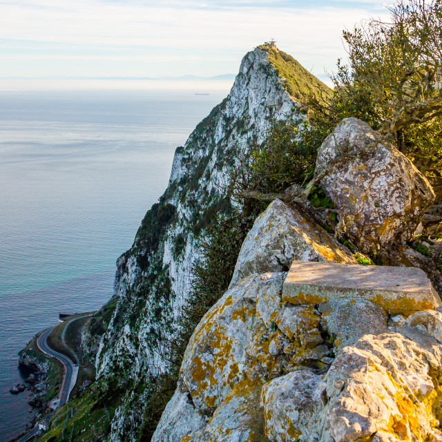 """Beautiful view from the top of the rock of Gibraltar on the African coastline..."" stock image"