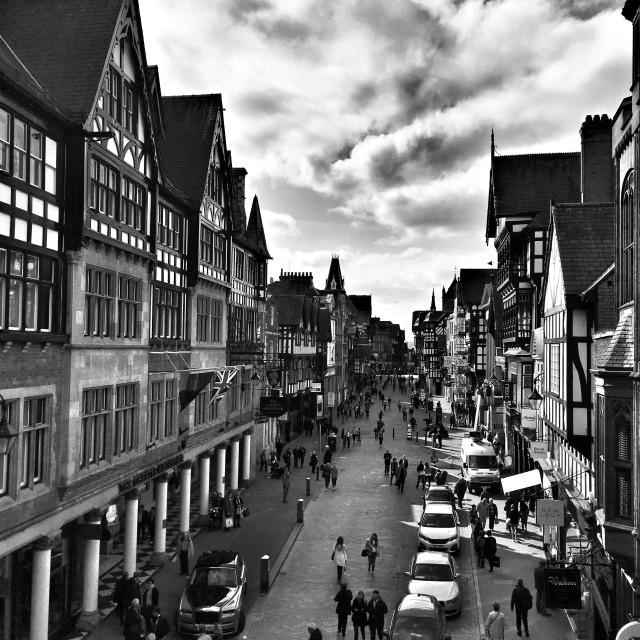 """""""The Grosvenor Hotel and Eastgate Street, Chester."""" stock image"""