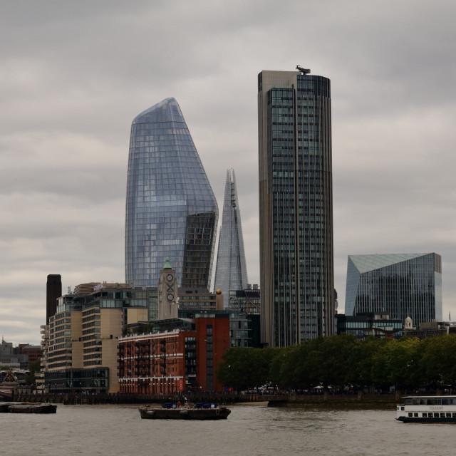 """Foggy London day at riverside"" stock image"