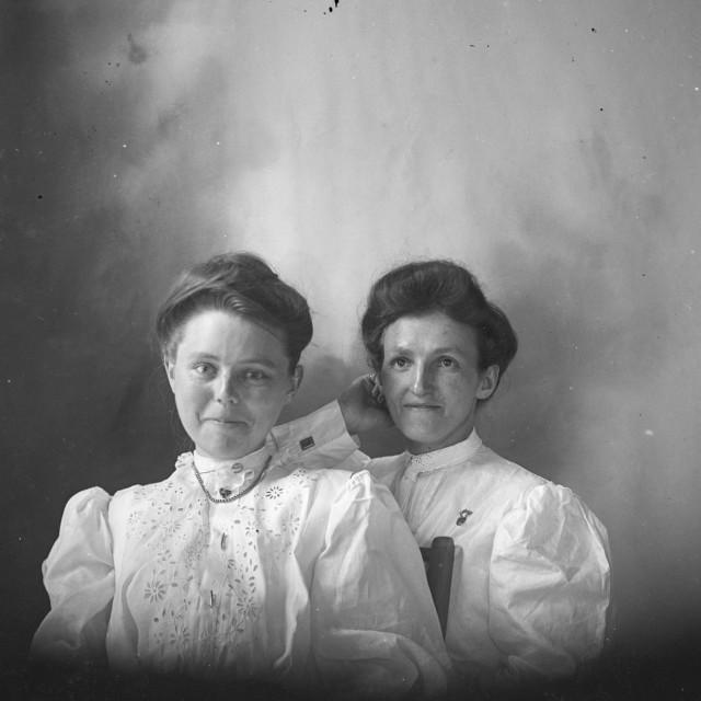 """VINTAGE PORTRAIT OF TWO WOMEN"" stock image"