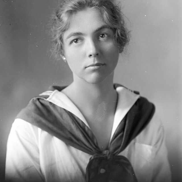 """""""VINTAGE PORTRAIT OF WOMAN IN SAILOR OUTFIT"""" stock image"""