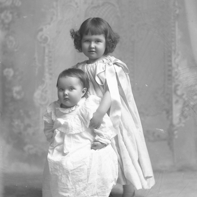 """VINTAGE PORTRAIT OF TWO CHILDREN"" stock image"