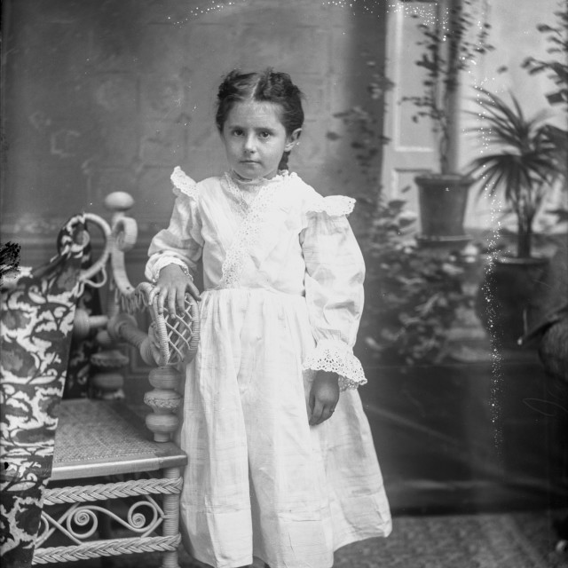 """VINTAGE STUDIO PORTRAIT OF YOUNG GIRL CHILD"" stock image"