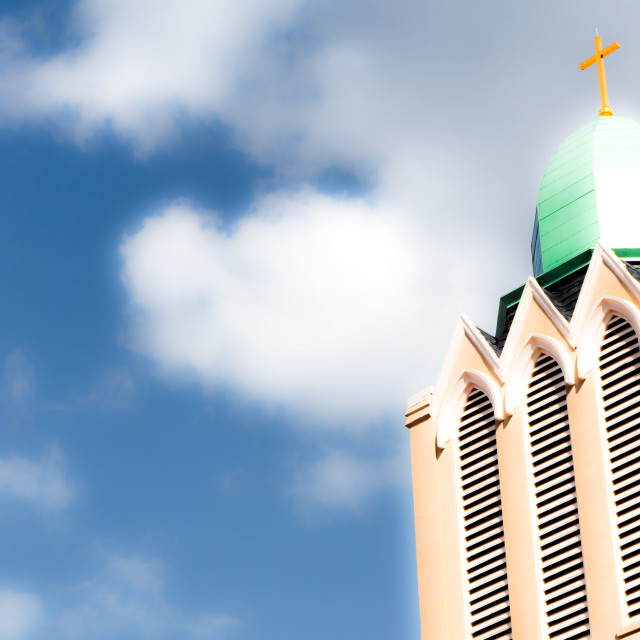 """""""CHURCH STEEPLE IN THE CLOUDS"""" stock image"""