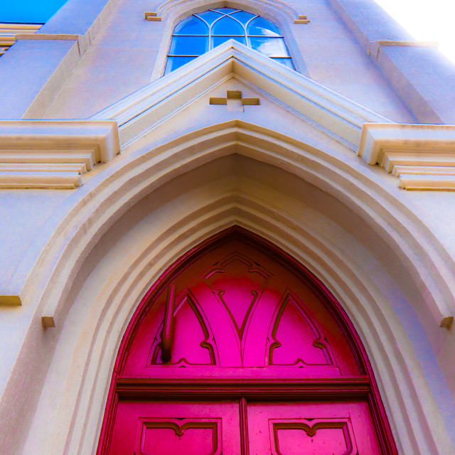 """""""CHURCH FRONT LOOKING UP TO STEEPLE"""" stock image"""