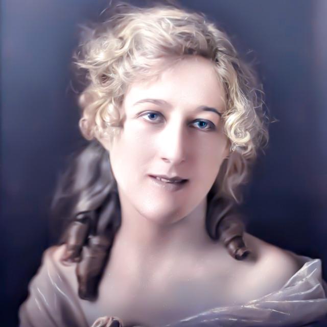 """VINTAGE COLORIZED STUDIO PORTRAIT OF BEAUTIFUL WOMAN"" stock image"