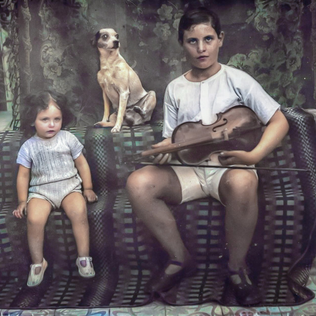 """""""VINTAGE PORTRAIT OF BOY, GIRL AND THEIR DOG, WITH VIOLIN"""" stock image"""