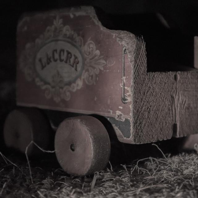 """STILL LIFE / STUDIO PHOTO OF VINTAGE TOY TRAIN CAR"" stock image"