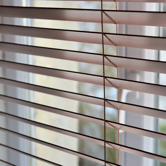 """""""close on a venetian wooden blinds"""" stock image"""