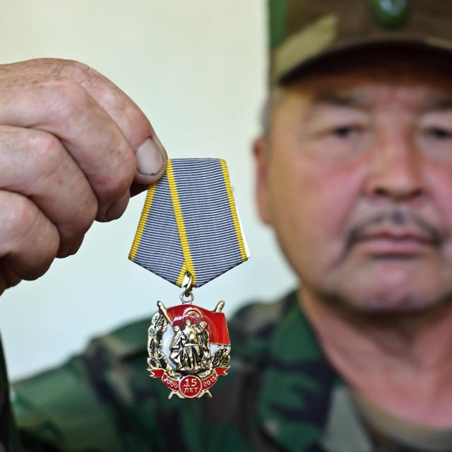 """""""Kyrgyz army man ( Kyrgyzstan)"""" stock image"""