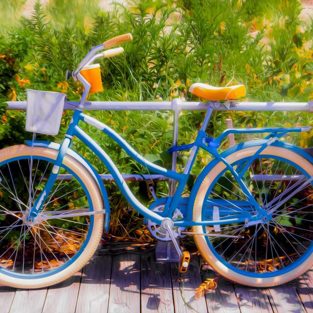 """BEACH CRUISER BICYCLE ON THE BOARDWALK"" stock image"