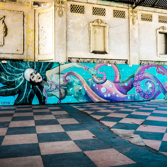 """MERMAID MURAL IN ASBURY PARK NJ"" stock image"