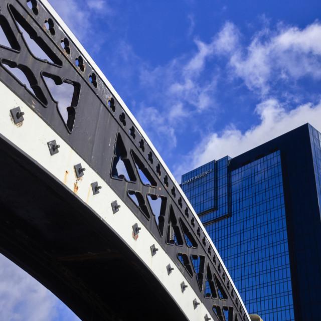 """Bridge over Gas Street basin Birmingham"" stock image"