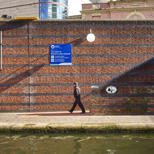 """""""Canalside walk at Broad Street in the heart of Birmingham"""" stock image"""