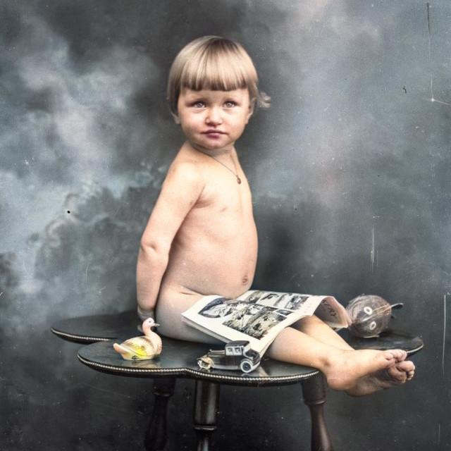 """VINTAGE BABY PORTAIT"" stock image"