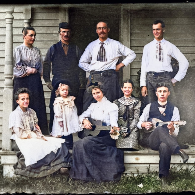 """""""VINTAGE PORTRAIT OF MUSICIANS / FAMILY ON FRONT PORCH"""" stock image"""