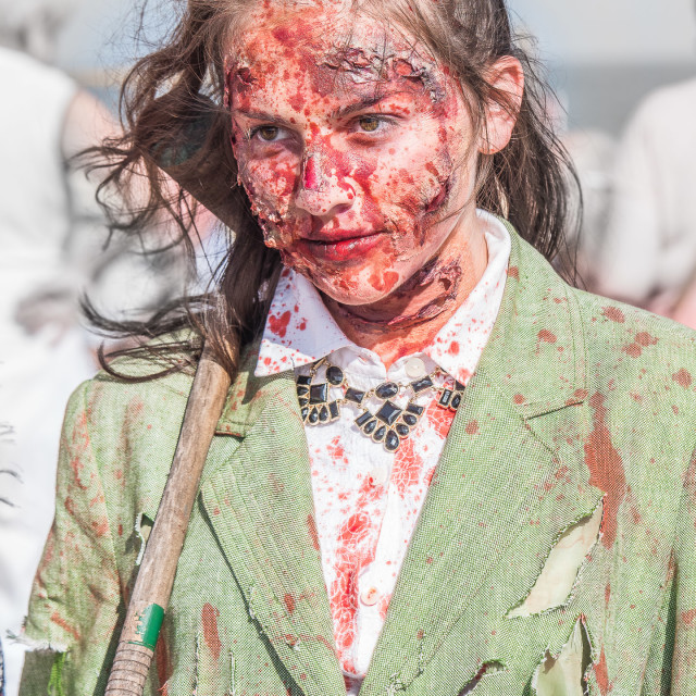 """YOUNG GIRL ZOMBIE, HEATHERS MOVIE"" stock image"