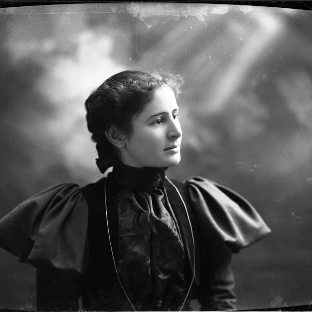 """STUDIO PORTRAIT OF BEAUTIFUL WOMAN IN ELEGANT DRESS"" stock image"
