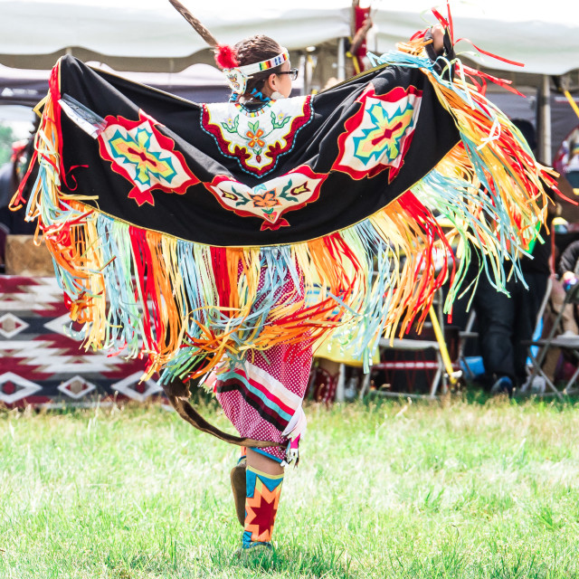"""NATIVE AMERICAN DANCING WITH BEAUTIFUL SHAWL"" stock image"