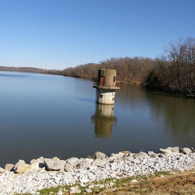 """Fayetteville Lake, Springdale Arkansas"" stock image"